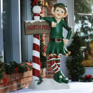 Outdoor Christmas Elves | North Pole Elf Statue, 54 in. | Christmas ...