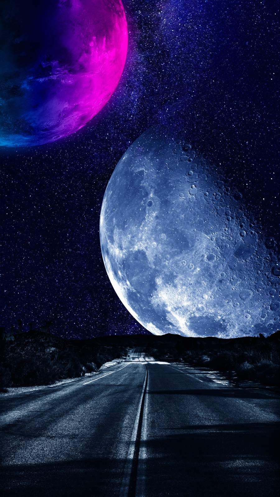 Road to Moon - iPhone Wallpapers