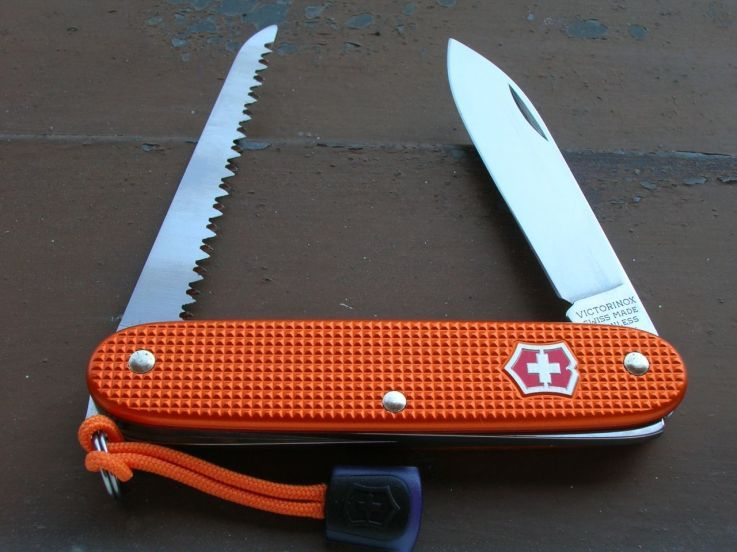 Victorinox orange Woodsman with ring and red shield, 50 pieces special limited run.