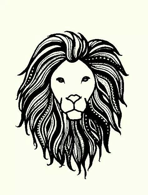 Lion henna tattoo art black and white sketch drawing graphic