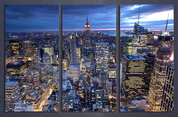 New York City Evening Skyline Canvas Print Nyc Wall Art 3 Etsy Nyc Wall Art Ny City Skyline Condo Art