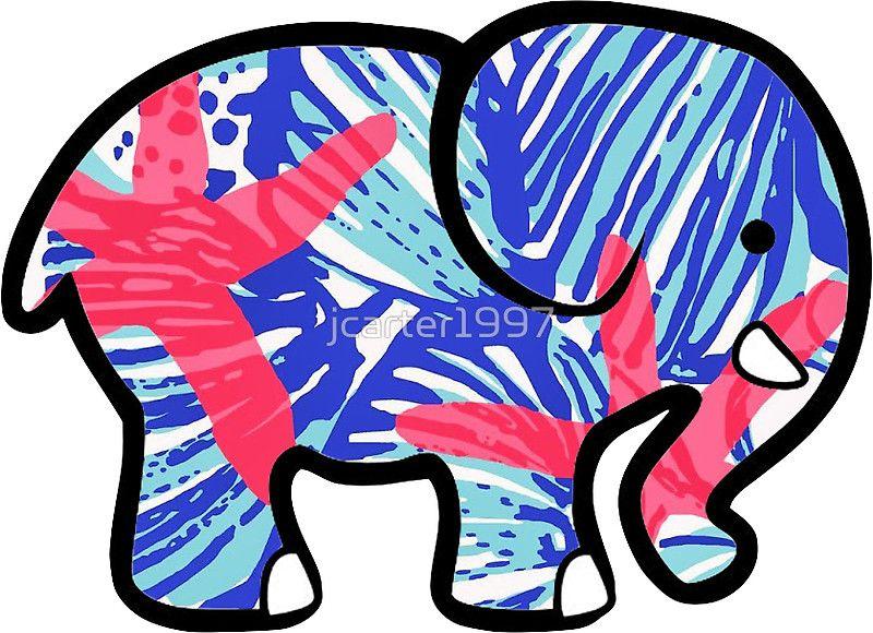 9aaf78275d4 Ivory Ella Elephant Sticker Lilly Pulitzer Inspired Print | sticker ...