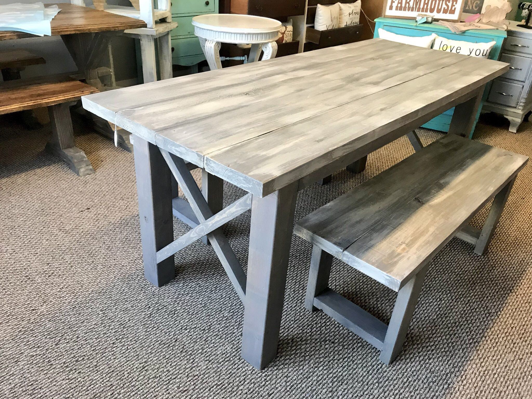 Rustic Wooden Farmhouse Table Set With Gray White Wash Top And