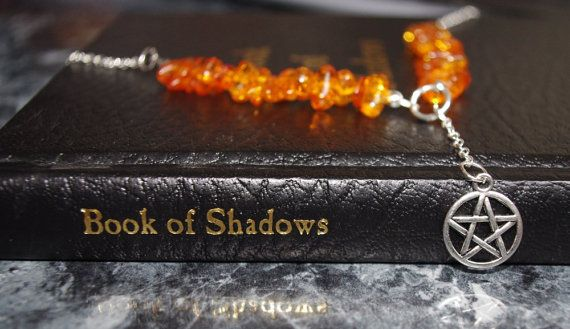 Amber Witch Necklace, pentacle, protection, magic, wicca, pagan