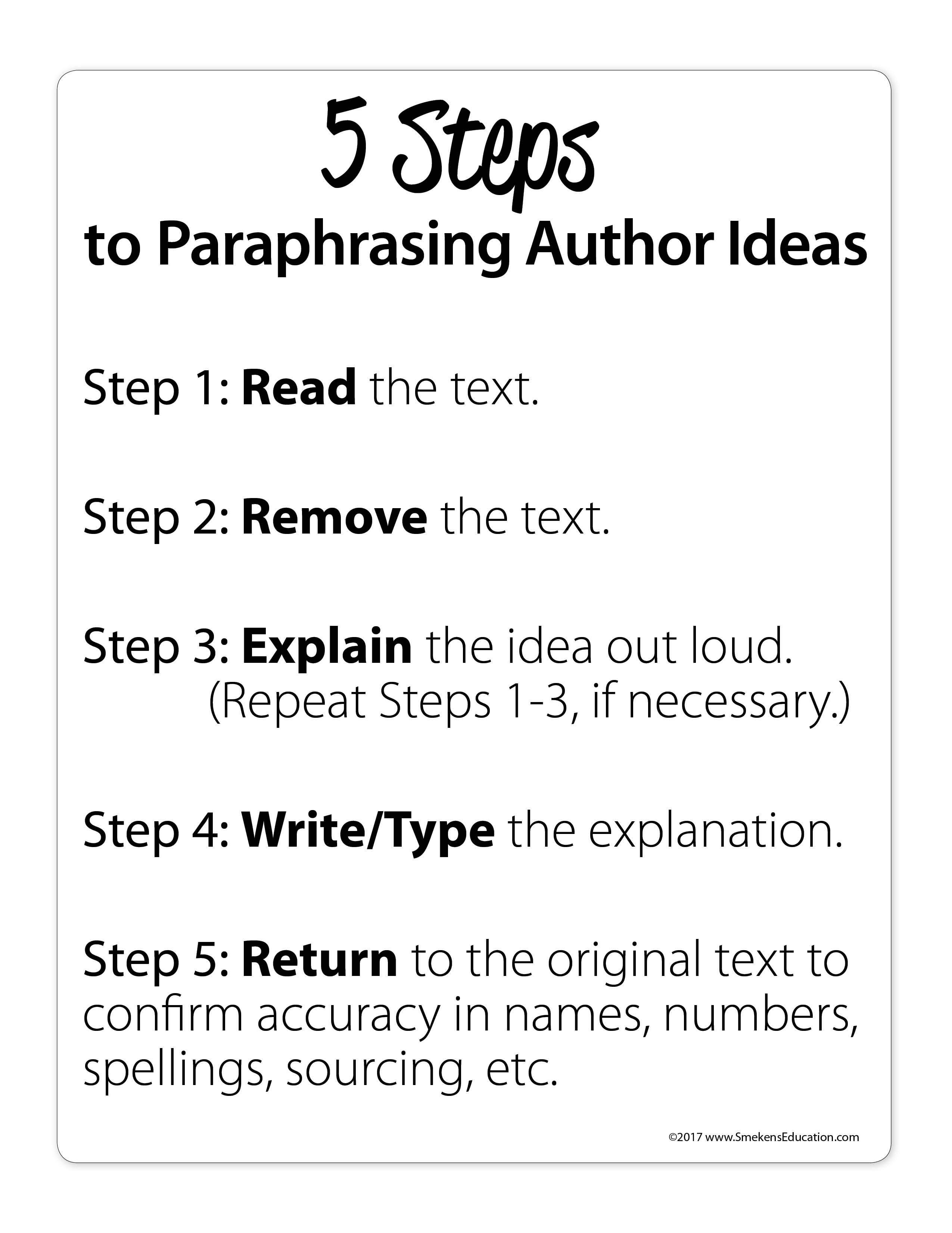 5 Step To Paraphrasing Author Idea Special Education Writing Paraphrase Tips Sentence Starters