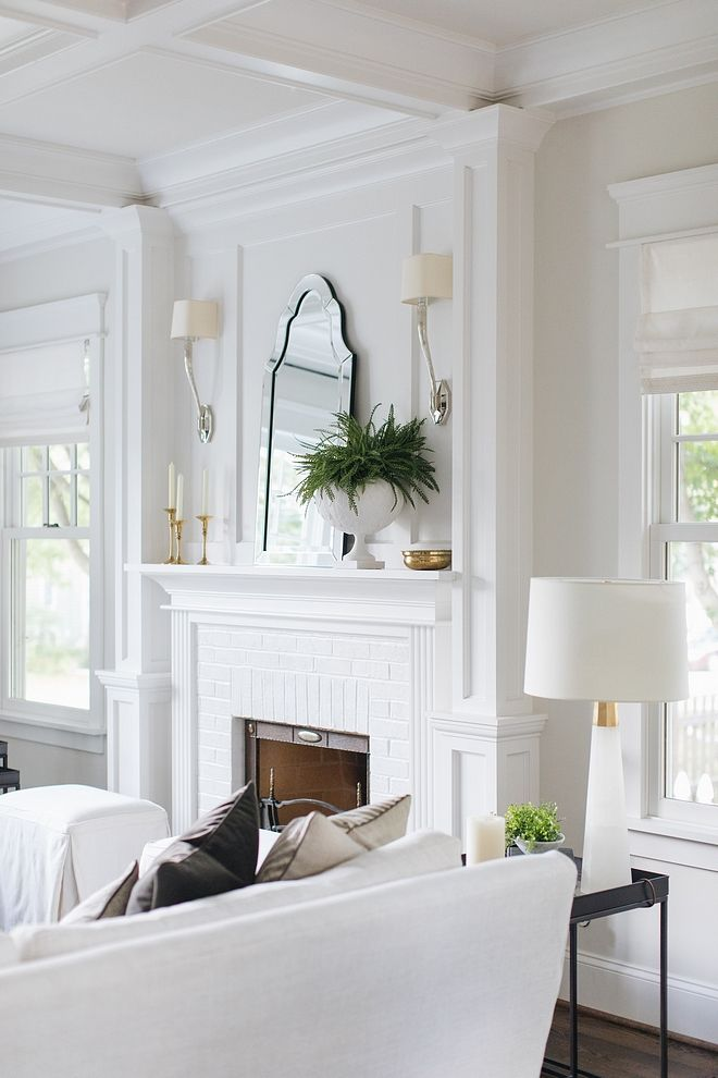 Benjamin Moore Decorator White Coffered ceiling Trim and Fireplace