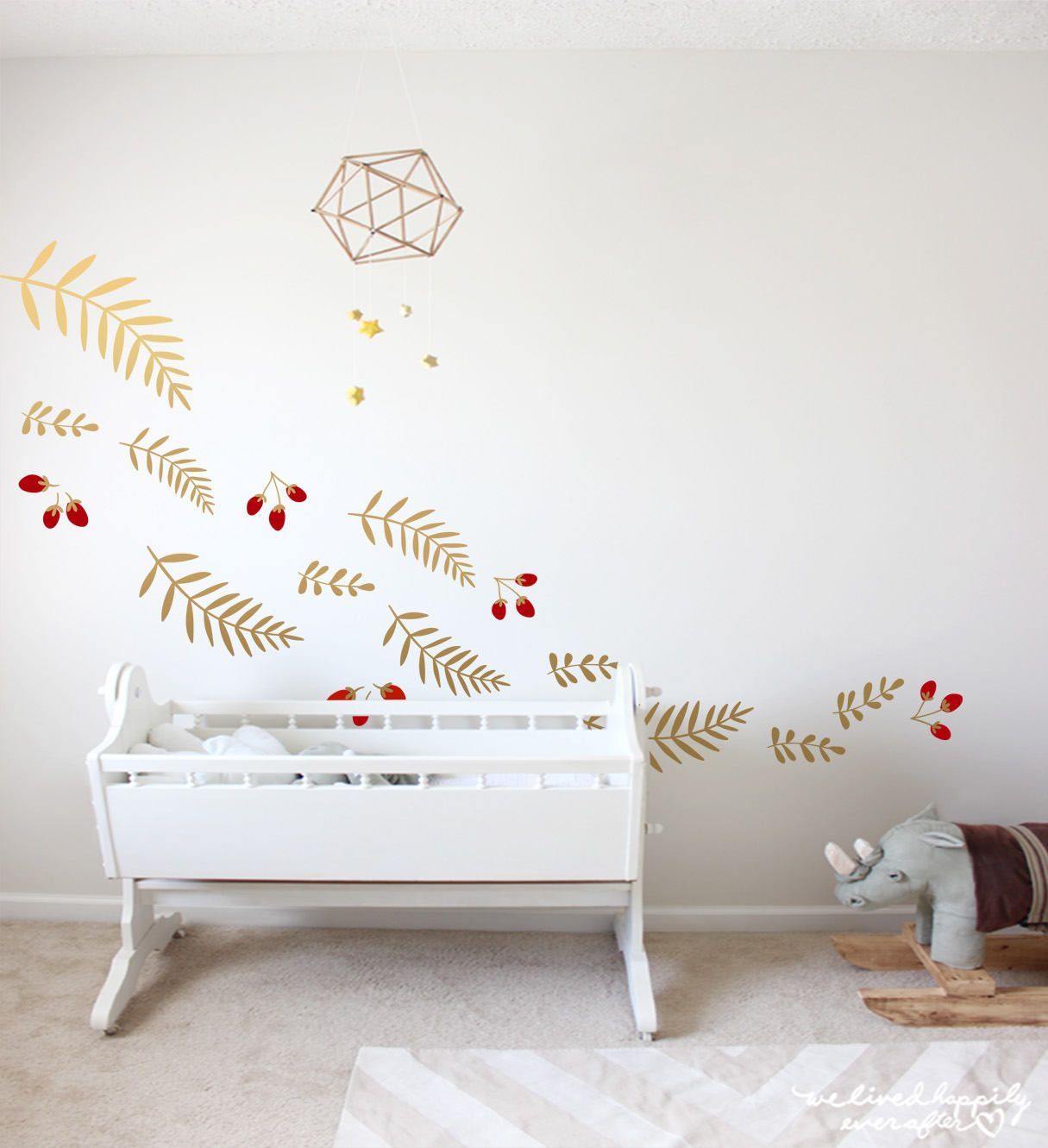 Christmas Decal Christmas Decoration Nursery Decor Gold Wall Decals Leaves  Decals