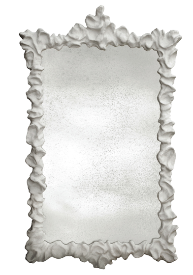"""Klemm Mirror Large - Cast Resin Frame  Inset Mirror: Non-Antiqued comes in Antiqued Gold  41""""W x 3""""D x 65""""H"""