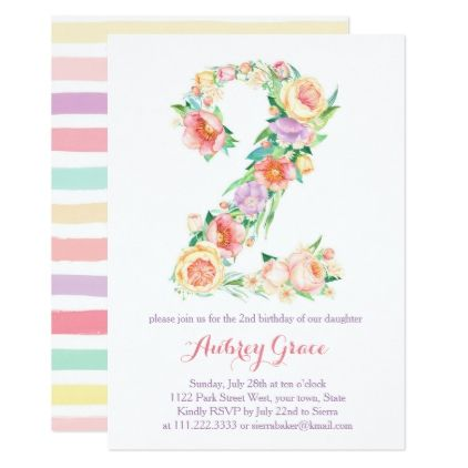 Fresh Spring Second Birthday Party Invitation Girl Invitation ideas - fresh birthday invitation from a kid