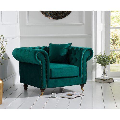 Lenita Chesterfield Green Velvet Accent Chair: Rosalind Wheeler Pai Chesterfield Chair