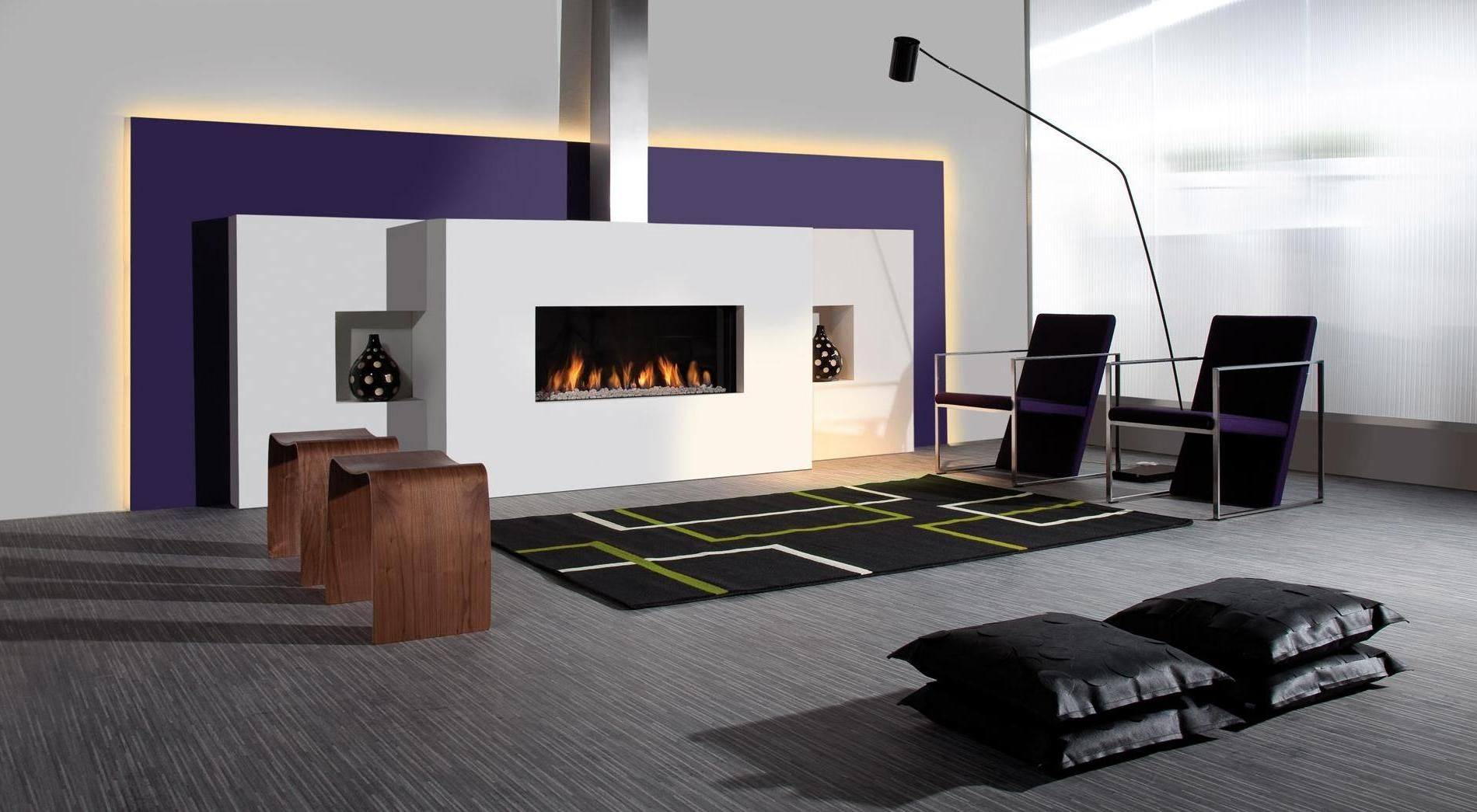 House DesignCool And Modern Living Interior Design With Amazing Fireplace Mantel Unique Purple Arm Chair Also Stunning Rectangular Rug On Gray Carpet