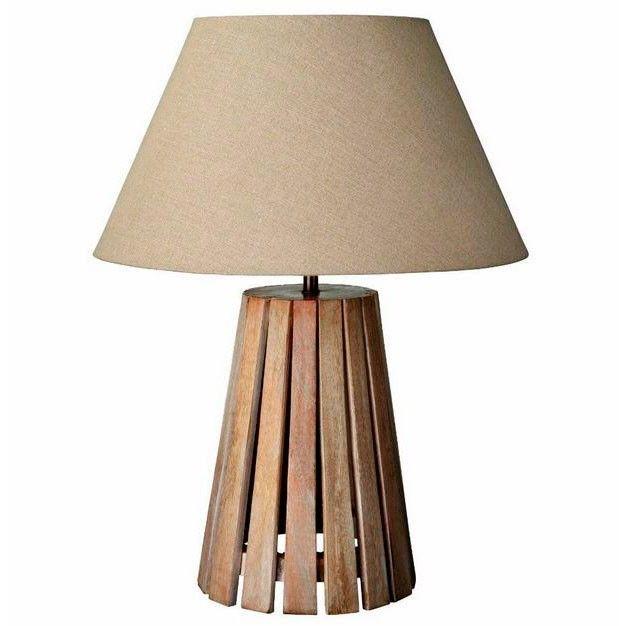L mpara de mesa pantalla beige pie r stico madera for Lamparas de mesa de madera
