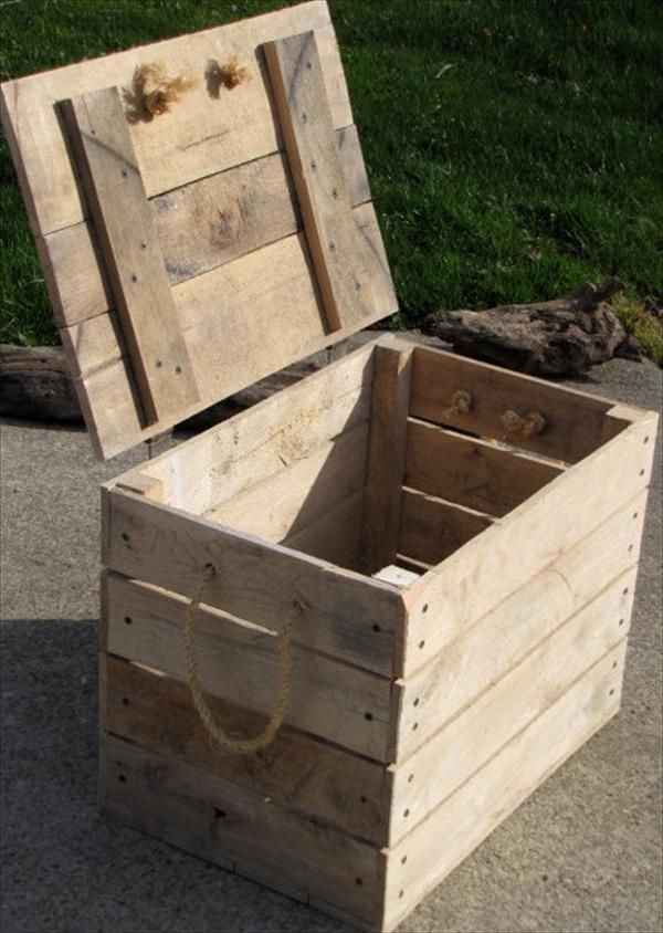 Pallet wood turned rustic crate box storage pallet for Storage box made from pallets