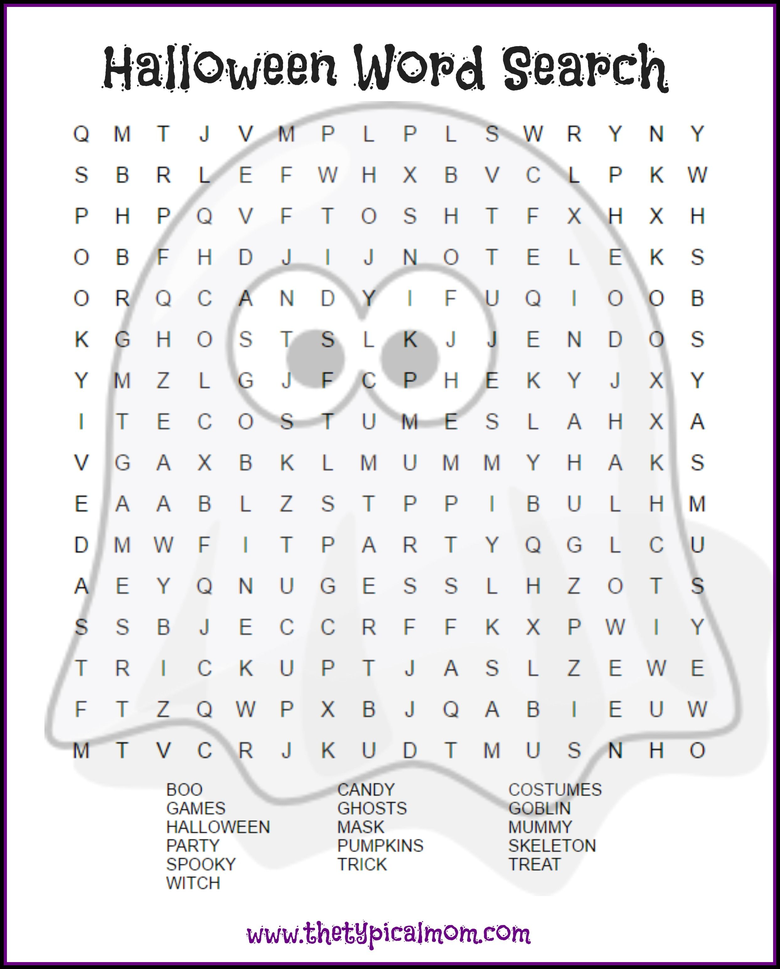 2 Free Halloween Word Search Printable Pages
