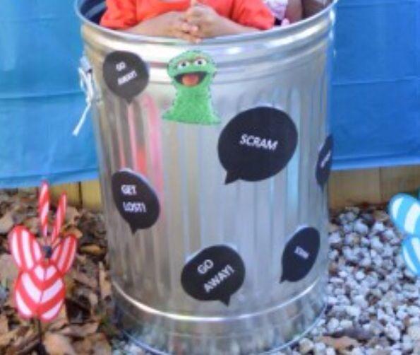 Oscar The Grouch Diy Trash Can Photo Prop 2nd Birthday