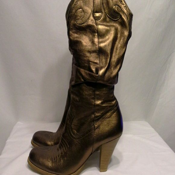 Jessica Simpson bronze cowboy boots! For the hot cowgirl at heart...let this boot do  all the talking! Shoes Heeled Boots