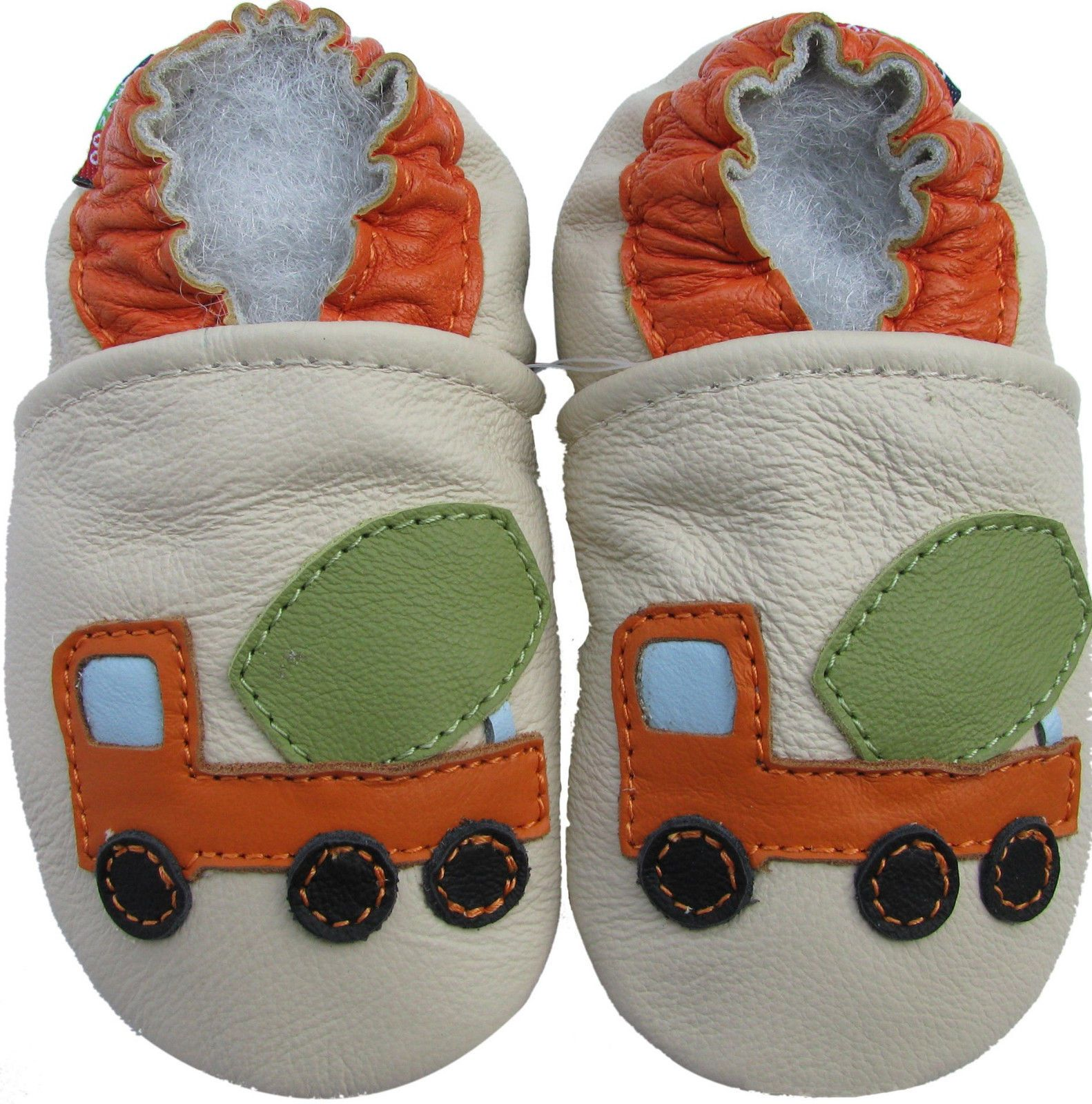 Carozoo Baby boy Soft Sole Leather Infant Toddler Kids Shoes Cement Truck Cream