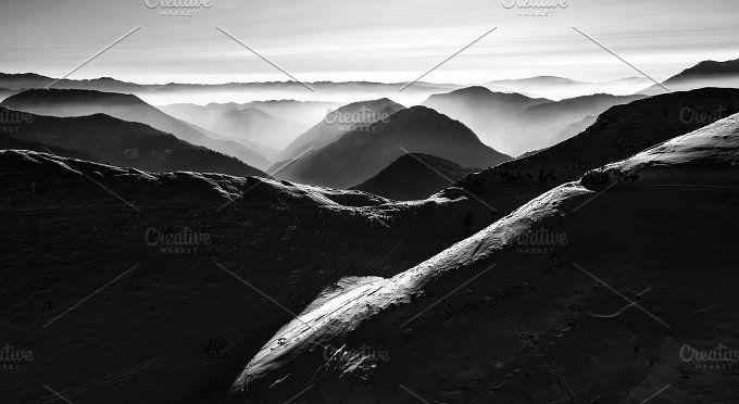 Winter scenery in the mountains by Dreamy Pixel on @creativemarket