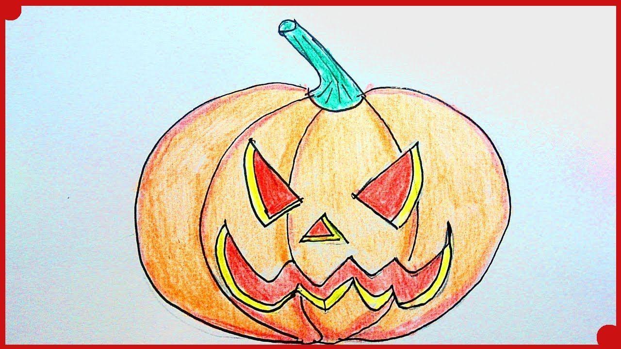 Como dibujar una calabaza de Halloween paso a paso y muy
