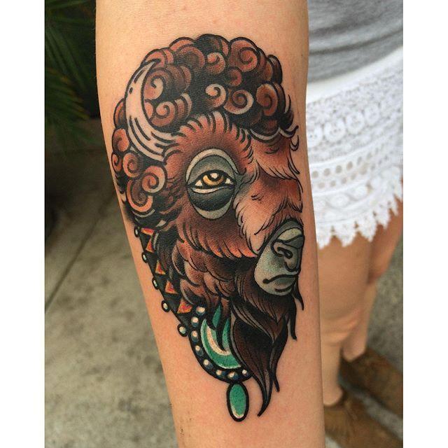 Buffalo Tattoo By Aaron Riddle Buffalo Buffalotattoo Bison Traditional Tattoo Bird Bison Tattoo Buffalo Tattoo
