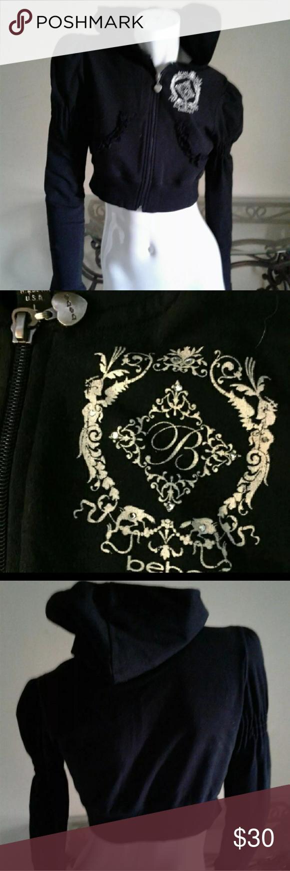 💕BEBE crop top💕 Black hoody with gold hardware & scrunchy