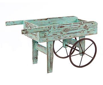 Carro portamacetas de madera de abeto y hierro