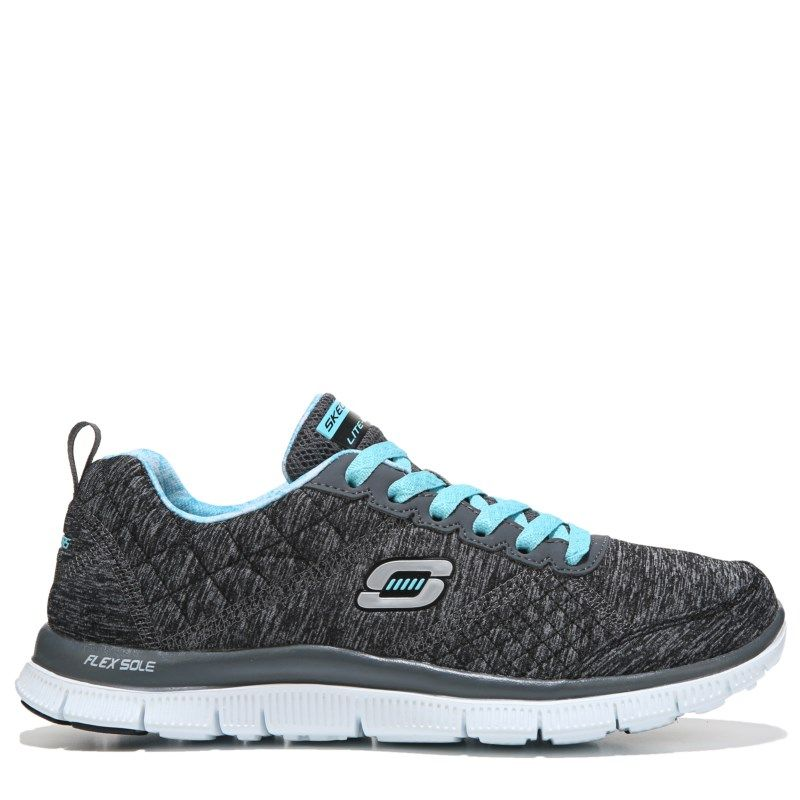 33715ff00a48 Skechers Women s Flex Appeal Pretty City Memory Foam Running Shoes (Charcoal  Turquoise) - 7.5 M