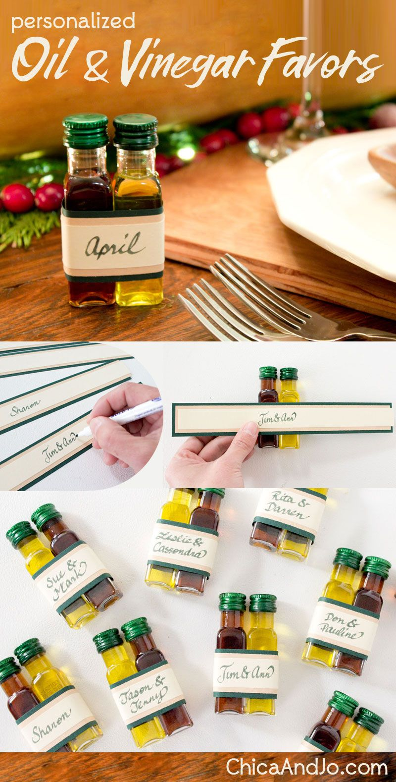 Oil and vinegar place settings and wedding favors | Chica and Jo ...