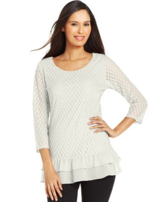 Style&co. Petite Textured Dot-Print Top
