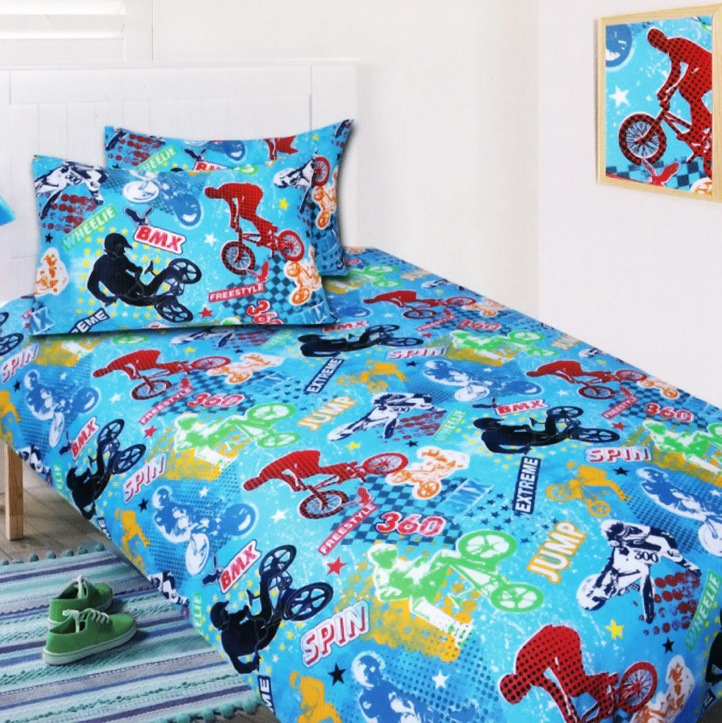 Bmx glow in the dark quilt cover set from kids bedding for Bmx bedroom ideas