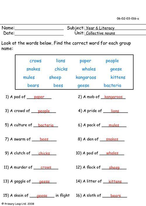Collective nouns worksheet grade google search english pronoun pinterest and grammar also rh