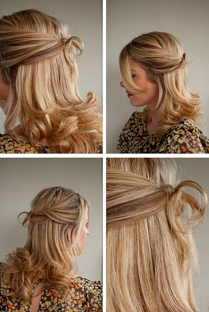 Half up, half down hairstyle – twisted and tied in a knot | Hair ...