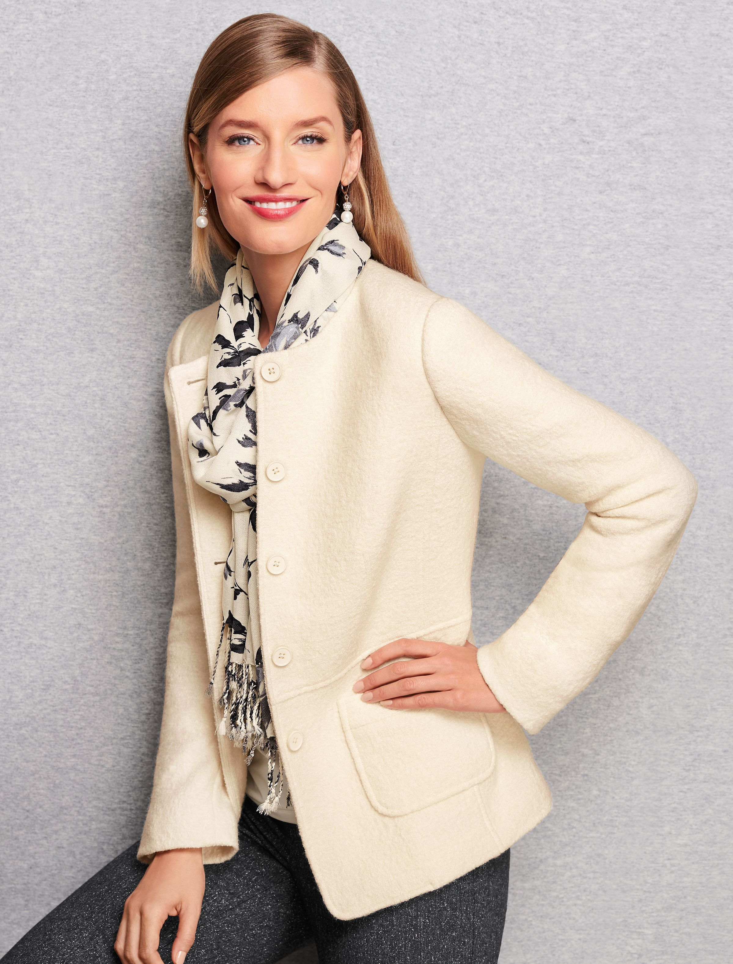 Your Favorite Lightweight Warm Layer Just Got A Shapely Makeover This New And Improved Wool Jacket Features A Round Boiled Wool Jacket Wool Jacket Boiled Wool [ 3156 x 2399 Pixel ]