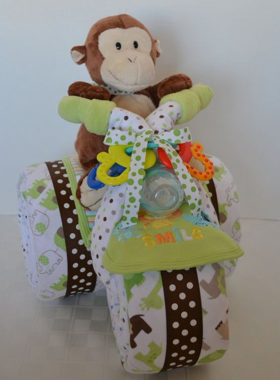 Diaper Cake,Tricycle, Trike, Baby Shower Gift , Jungle, Monkey, Centerpiece, Baby Cakes, Baby Boy: