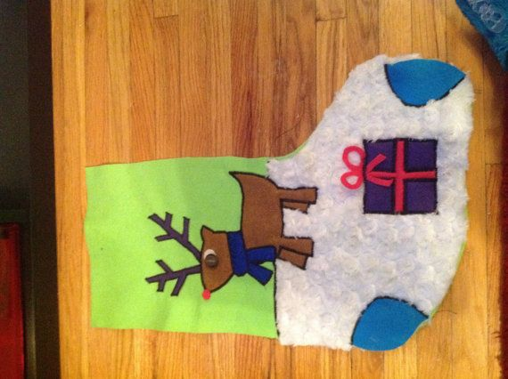 Adorable reindeer customized Christmas stocking with names and eye color. Love!