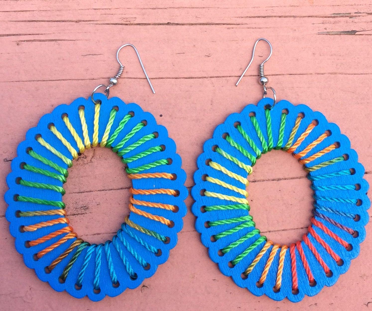 Fun wood and string Kenya earrings. Visit kenecoshop.storenvy.com to see more styles