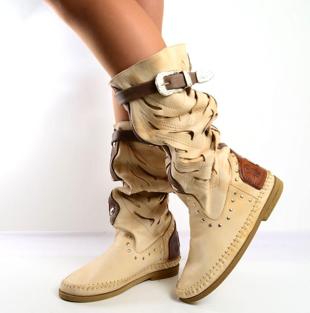 Indianini Stivali Estivi Donna Pelle Sfumata Tortora · Tacchi StivaliScarpe
