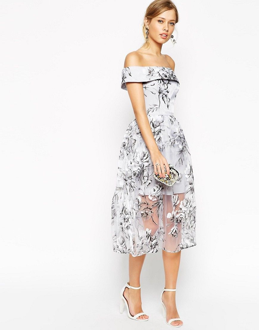 eb5bd2f561d Image 4 of ASOS PETITE SALON Bardot Dress In Organza Floral Midi