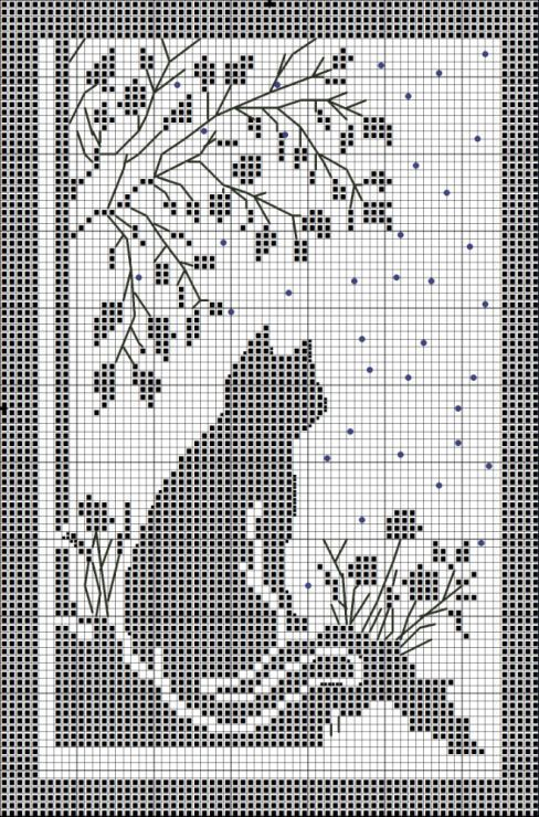 Cat and flowers silhouette free cross stitch pattern | crochet ...