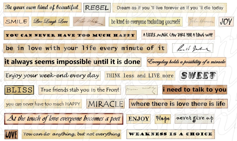 Digital collage sheet Digital Phrase quotes Collage Sheet Instant Download Quote collage sheet digital collage sheet
