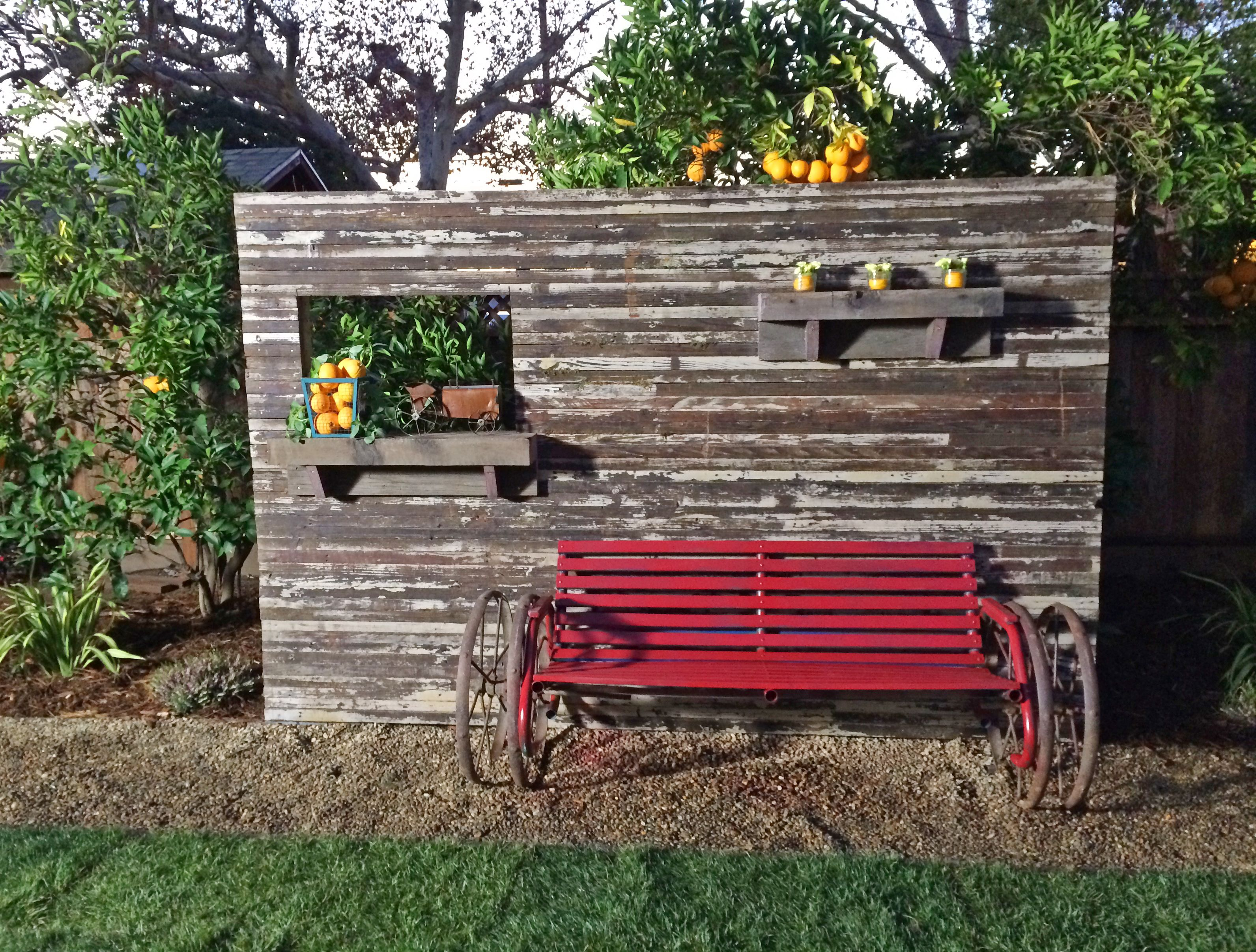 Privacy wall made with reclaimed wood with a repurposed for Outdoor privacy wall panels