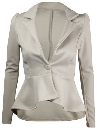 e91c88d7f5754 Womens New Long Sleeve Fitted Peplum Jackets Ladies Slim Fit Button Flared  Frill Blazer Jacket  Amazon.co.uk  Clothing Price  £10.00 - £14.99