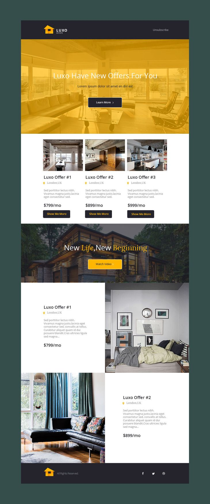 Luxo Free PSD Email Template Preview Web Design Pinterest - Edm template