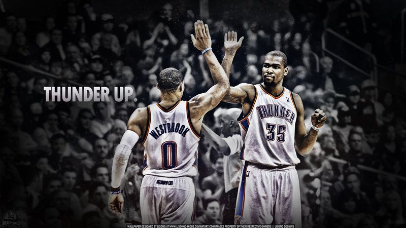 With two great players Kevin Durant and Russell Westbrook, OKC Thunder is rising up to one of the best teams in the league. Description from deviantart.com. I searched for this on bing.com/images