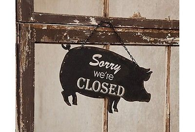 Open Closed Metal Hanging Pig Sign Vintage Farmhouse Style   eBay