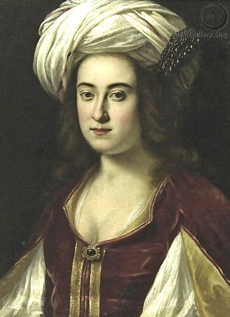 """Portrait Of A Lady In A Turban, Said To Be Claudia Di Fernando Di Medici"" by an unknown artist of the Florentine School (17th century)"