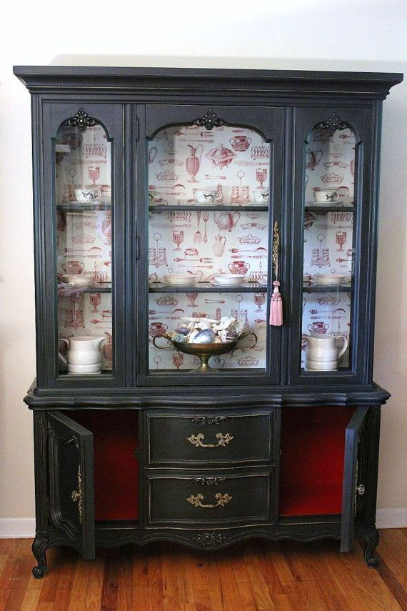 Black China Cabinet inlaid with fabric - Black.china.cabinet - Bing Images New House Ideas Pinterest