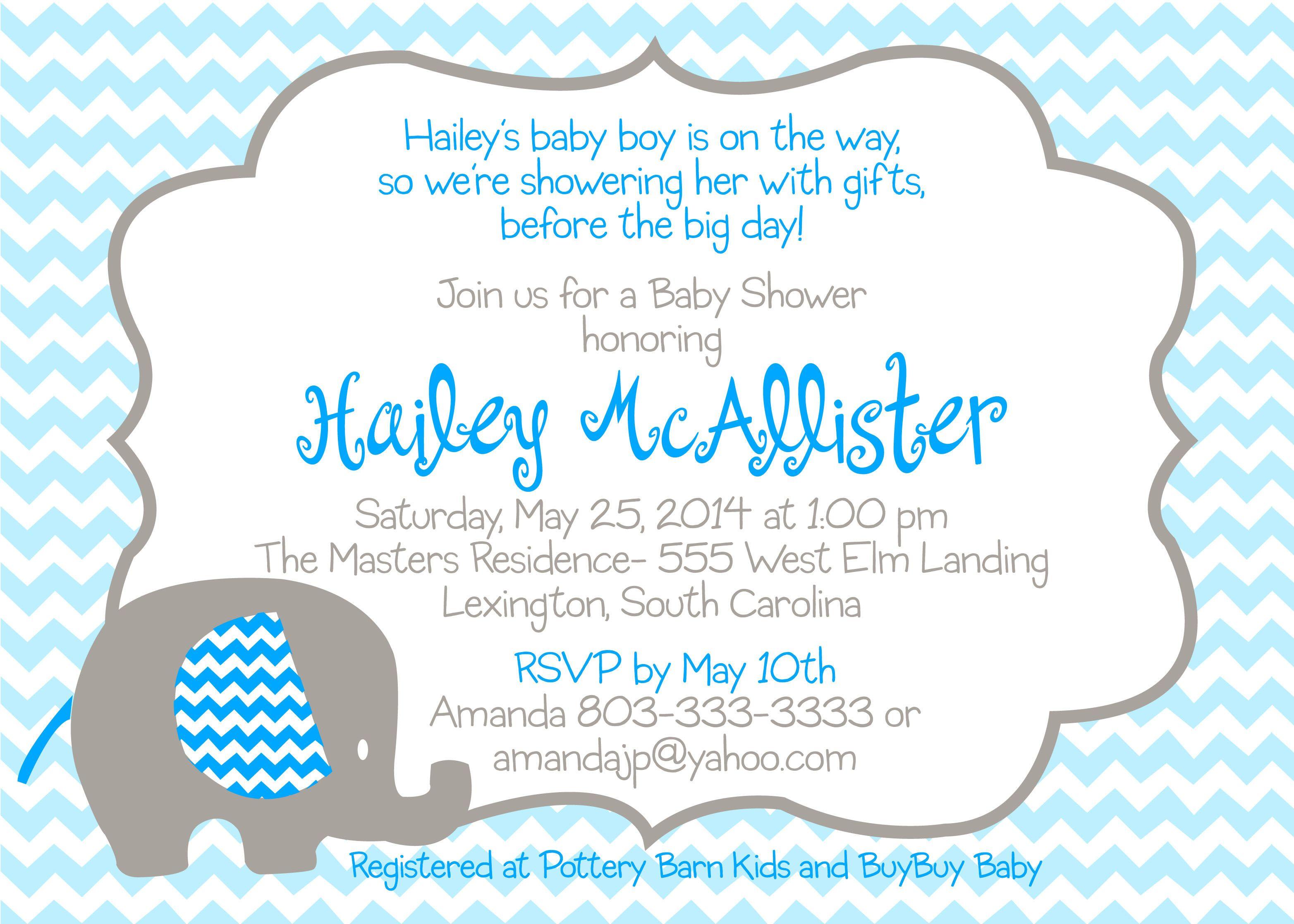 Baby Blue Elephant Shower Invitations Invi On Free Horizontal Striped Blank Eleph