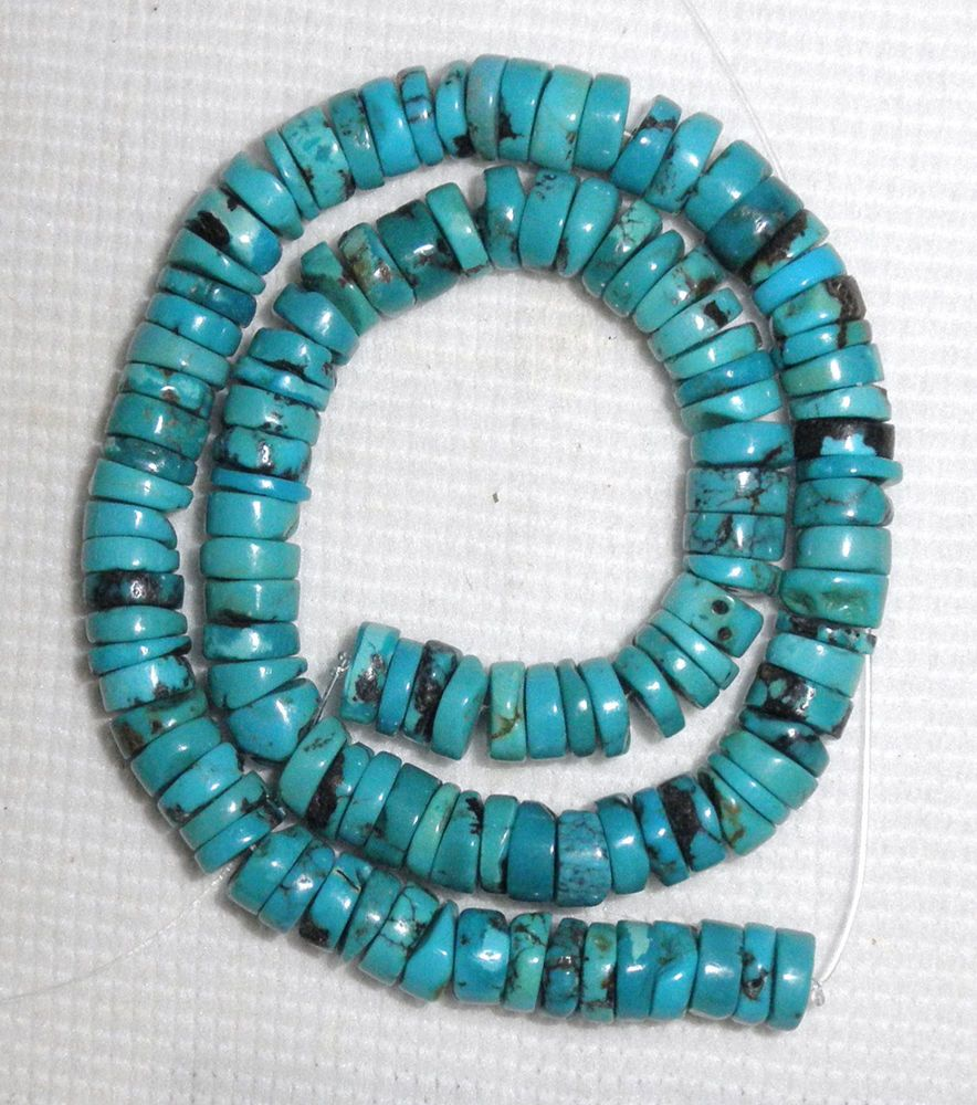 """10mm Turquoise Heishi Beads Natural Green Colors 16"""" Strand  # 188 A! #Erthart #Southwest"""