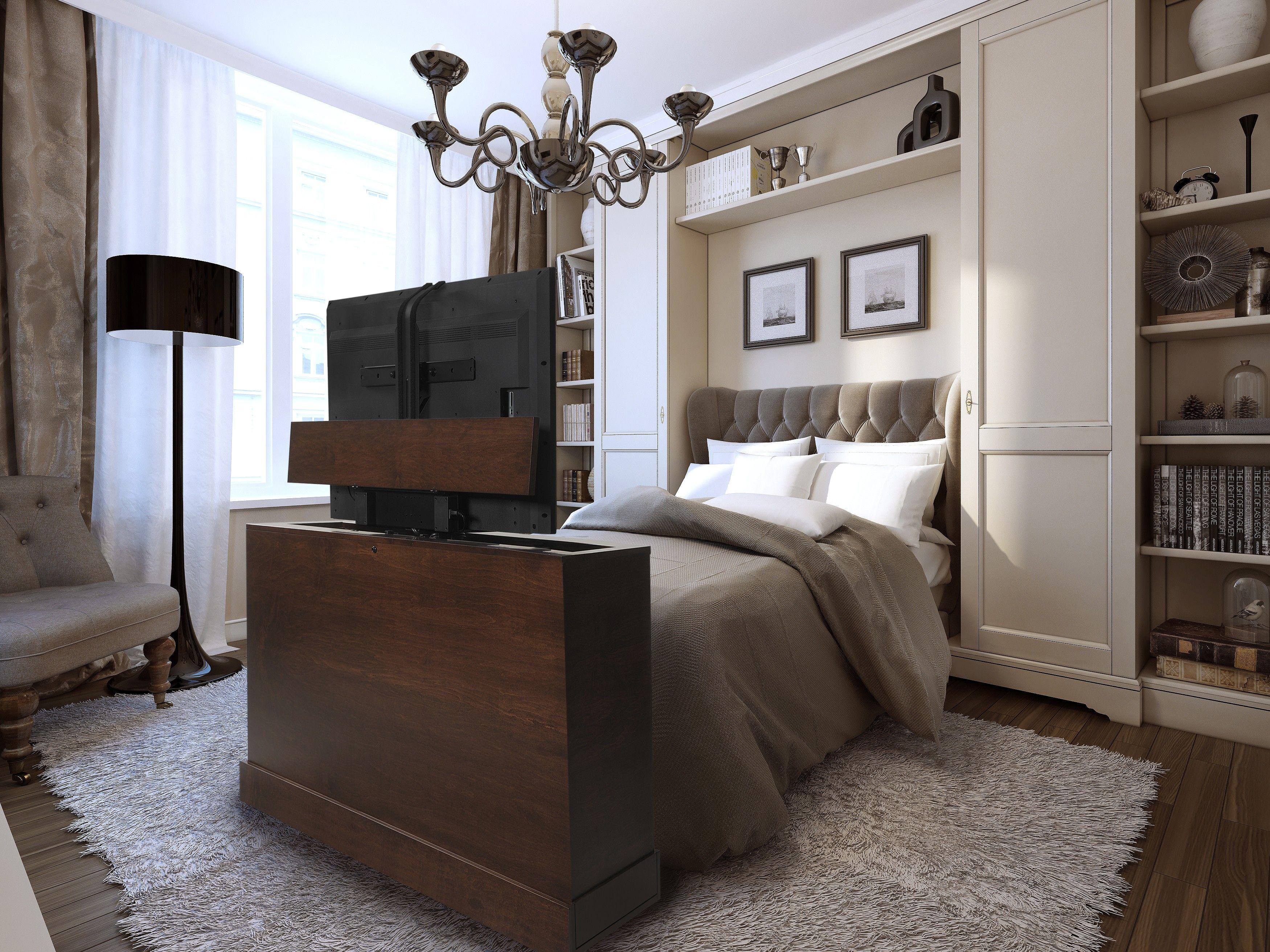 Tele Au Pied Du Lit azura 360 degree swivel in sonoma finish tv lift cabinet